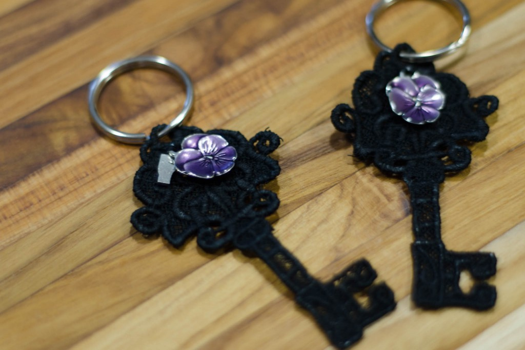 Urban Threads embroidered lace key with Danforth pewter charms