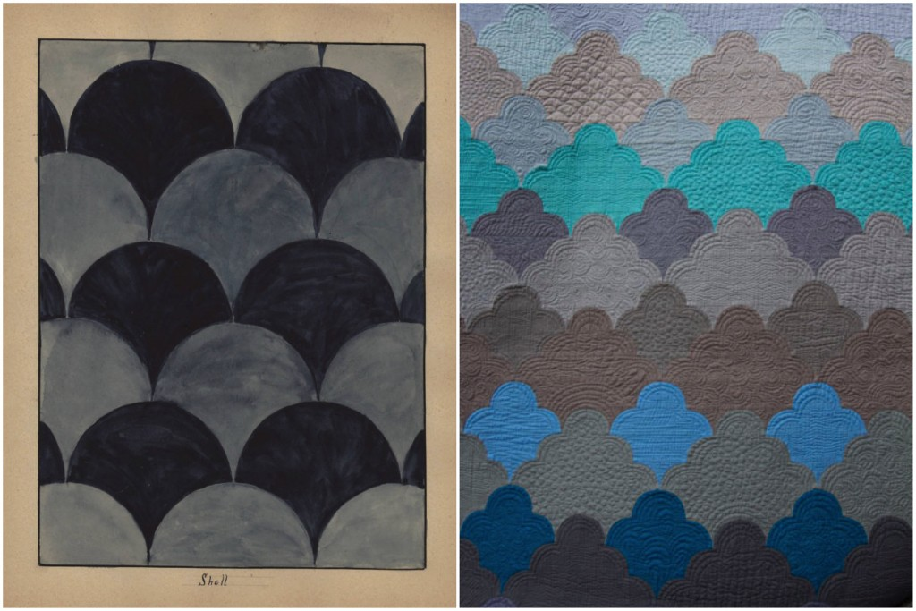 Quilt Pattern 186: Shell / cumulus from color continuum — no. 01 monochromatic by Emily Cier