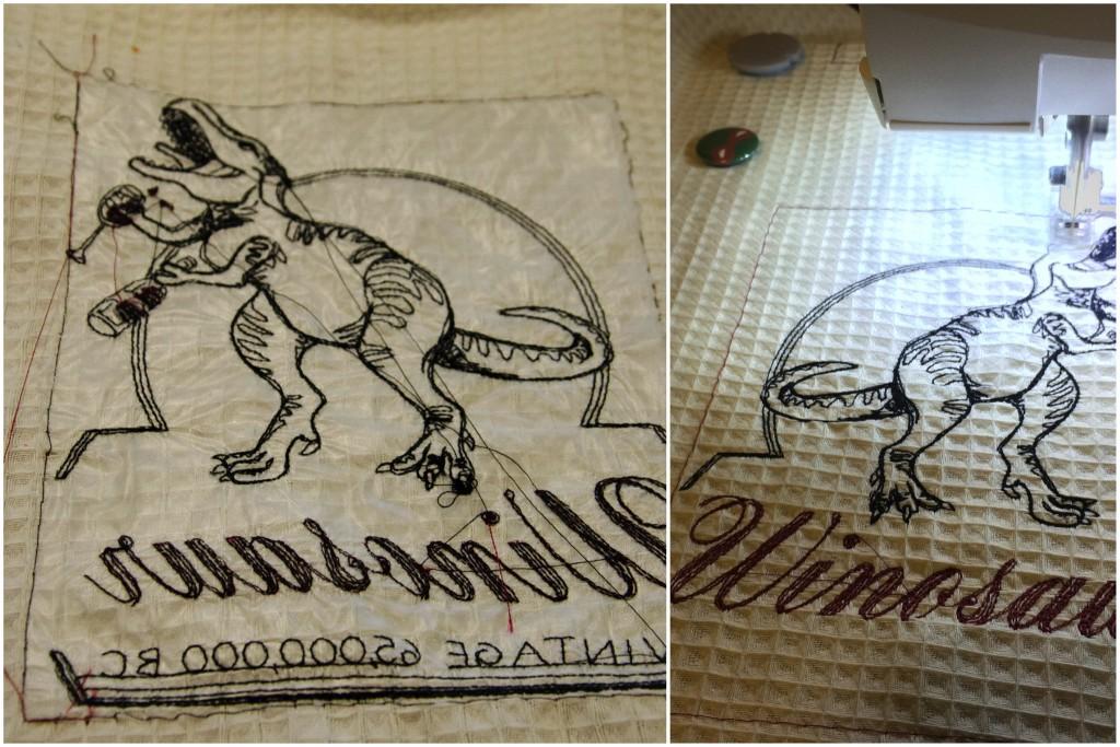 Winosaur towel stitchout back