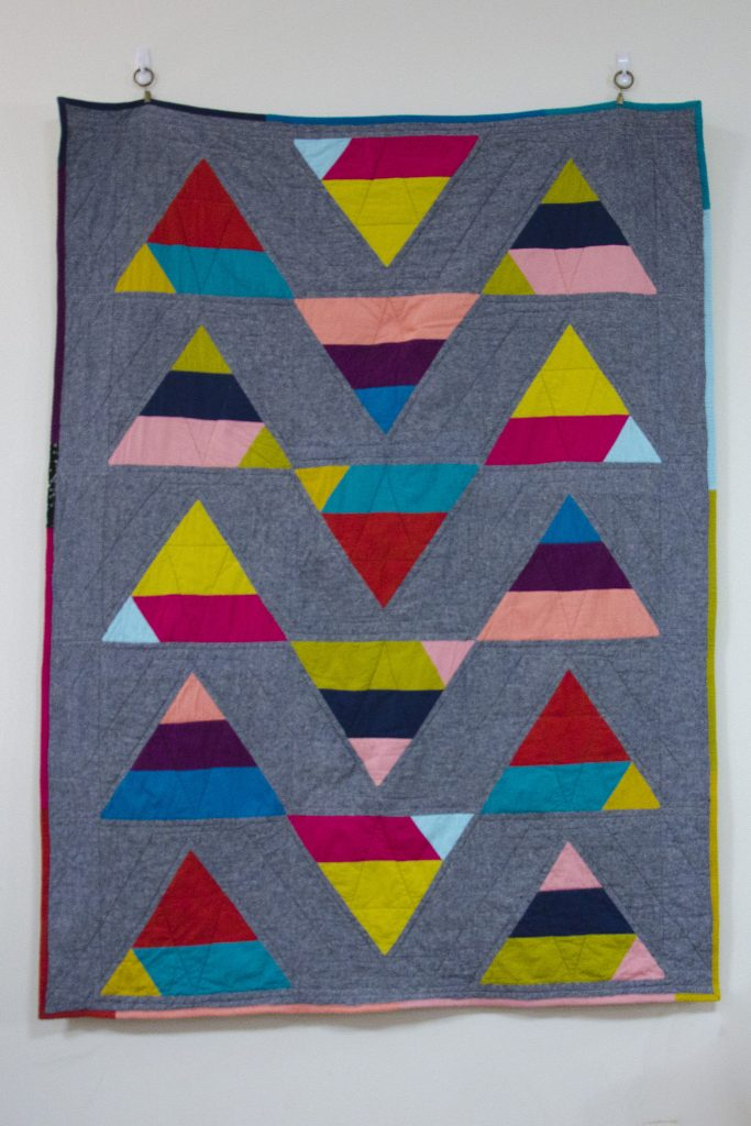 """Triangle Rainbows"", Rachael Arnold, September 2017, ~42″x56″."