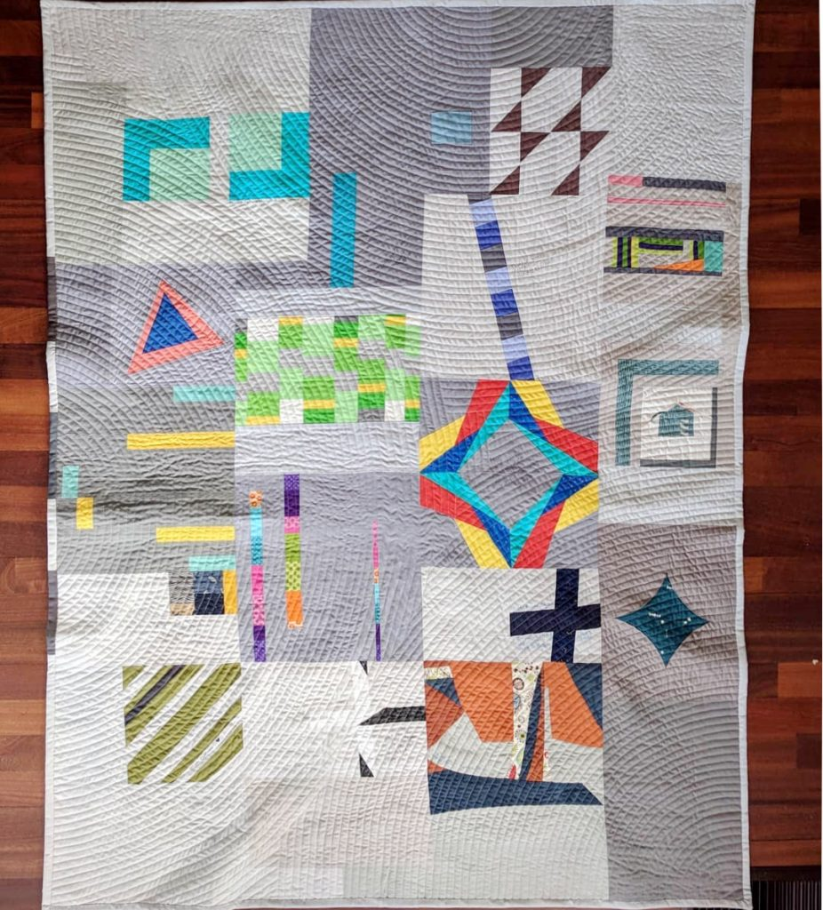 """Thank You, Madam President"" side two, with blocks made by members of the Vermont Modern Quilt Guild. Source: https://www.instagram.com/p/Bcu1dBNF8Y8/?taken-by=anyabyam"
