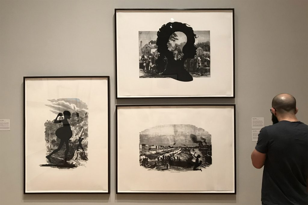 Three works from the Harper's Pictorial History of the Civil War (Annotated) series, Kara Walker, 2005. Offset lithograph with screenprint. Photo by Rachael Arnold.